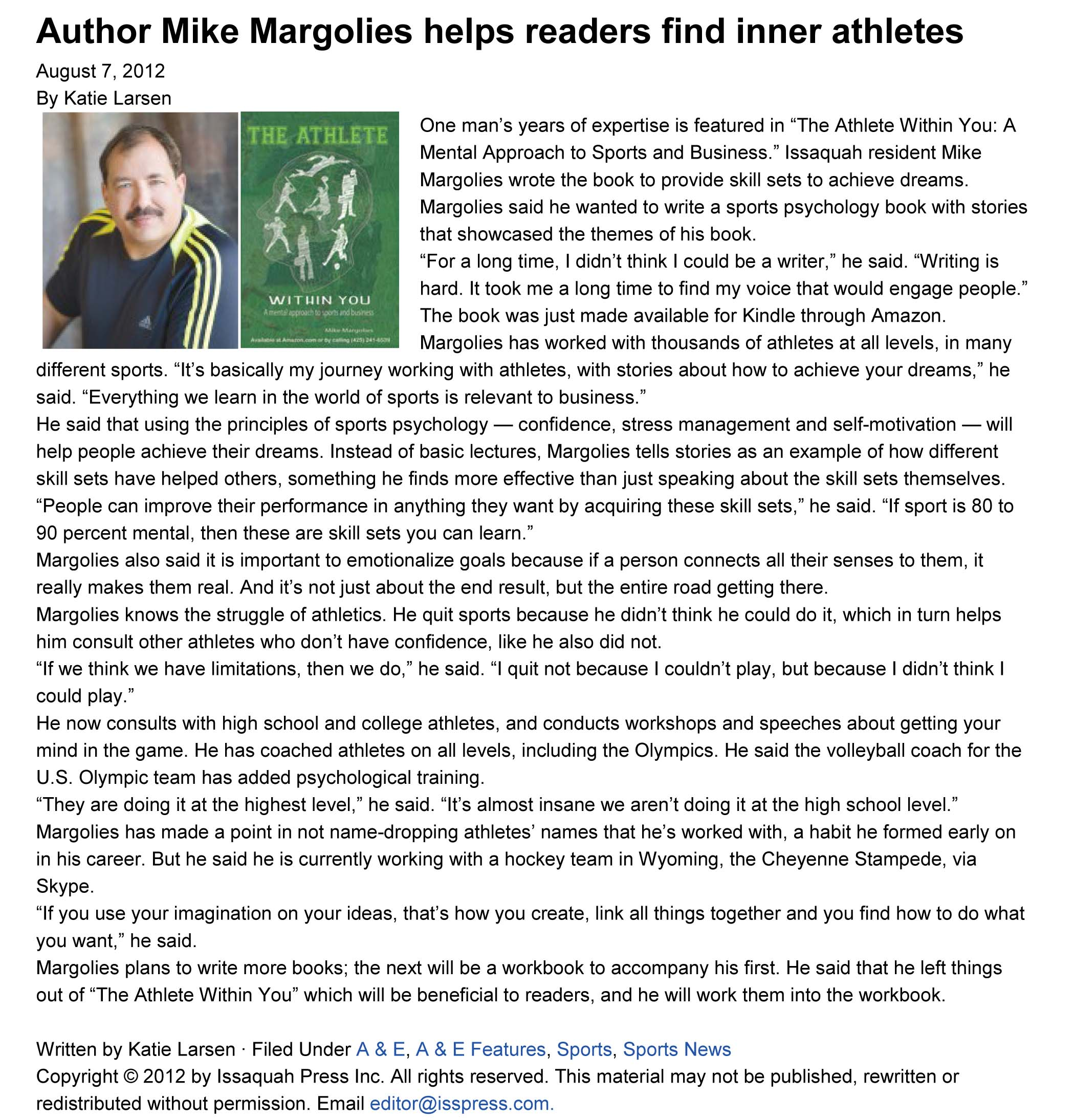 Author Interview- Mike Margolies and The Athlete within You
