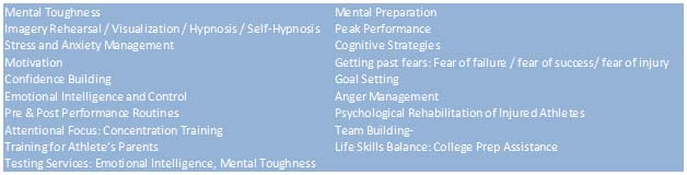 Areas of sport psychology concern